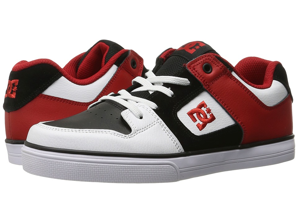 DC Kids - Pure Elastic (Big Kid) (White/Black/Red) Boys Shoes