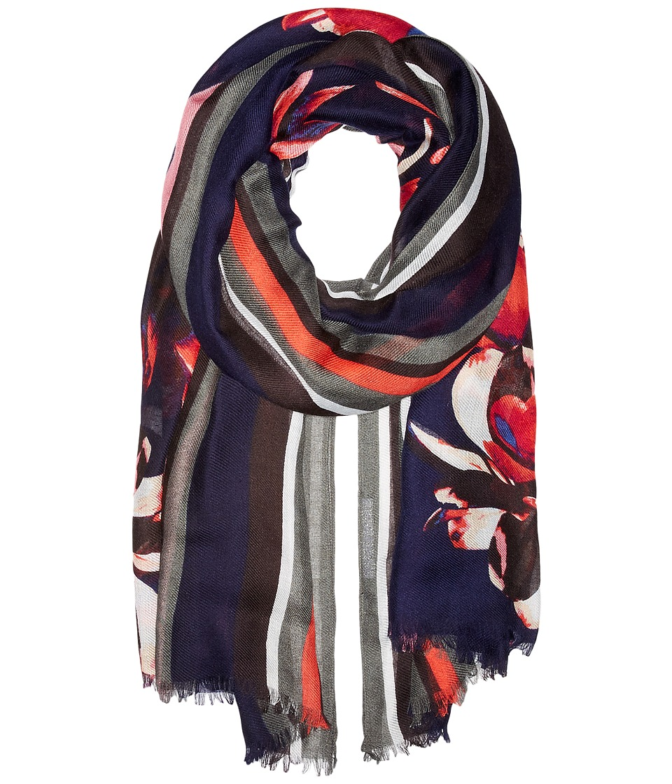Ivanka Trump - Bold Stripe with Painted Petals Oblong (Black Bean) Scarves