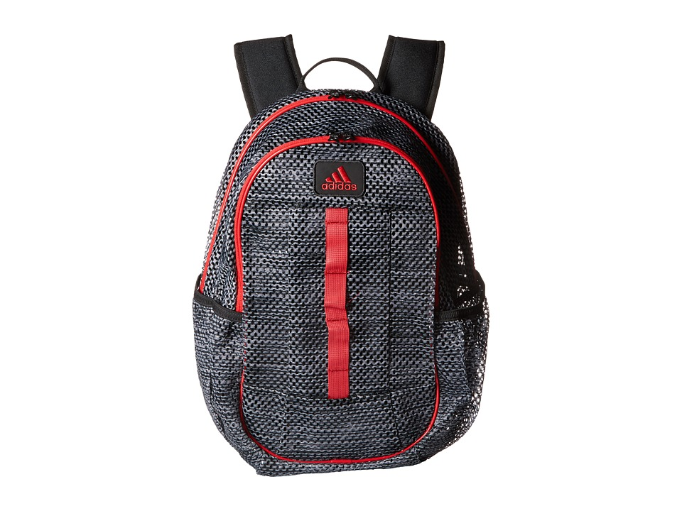 adidas - Hermosa Mesh Backpack (Lo Stripe Black/Scarlet) Backpack Bags