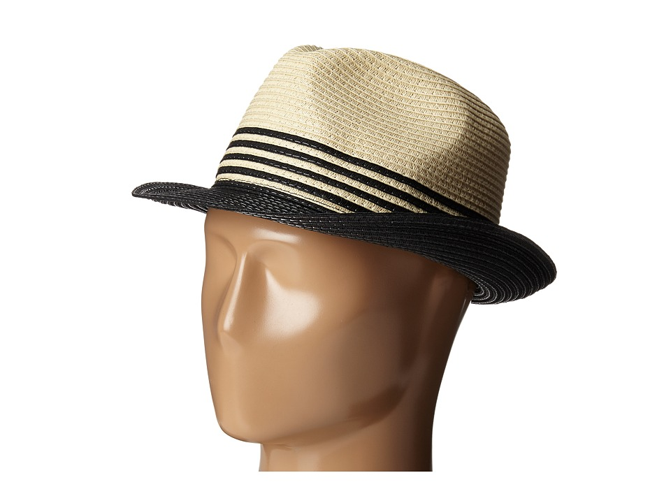Ivanka Trump - Color Block Stripe Fedora (Natural/Black) Fedora Hats