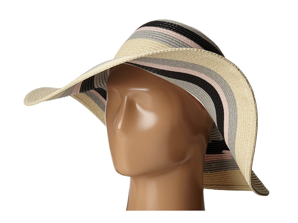 Ivanka Trump - Bold Stripe Floppy Hat (Egret) Caps