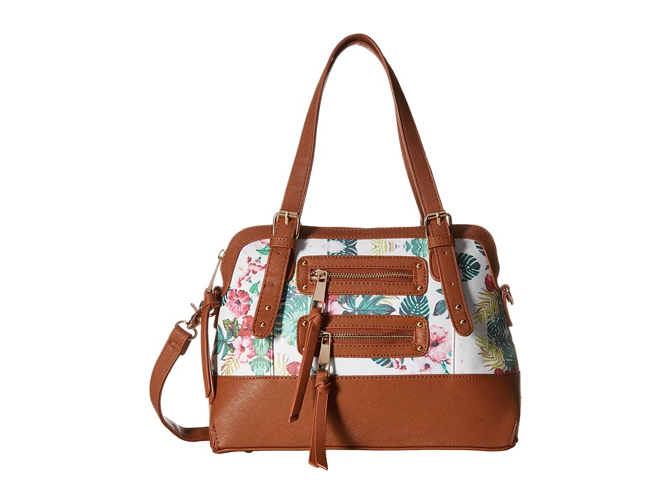 Gabriella Rocha - Karla Tropical Floral Satchel (Cognac/Ivory Floral) Satchel Handbags
