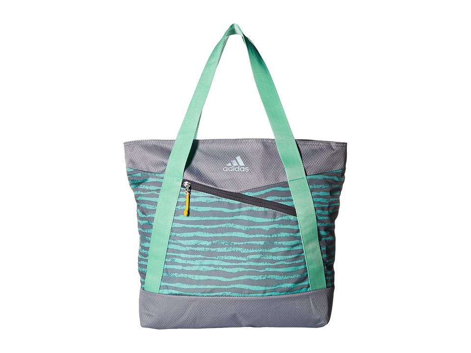 adidas - Squad III Tote (Chalk Stripe Green Glow/Grey/Green Glow/Deepest Space) Tote Handbags