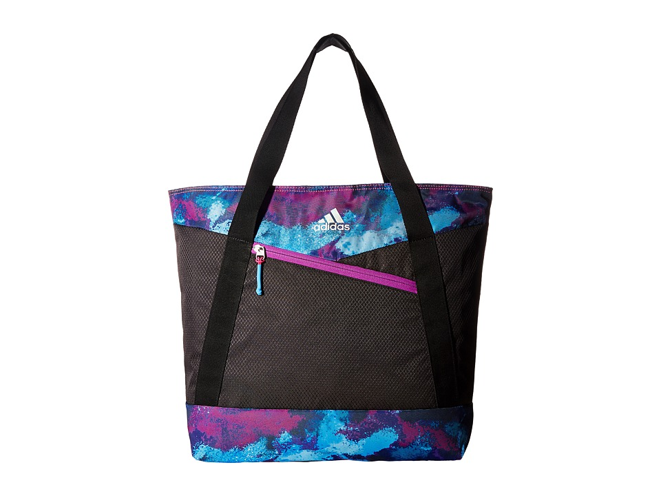 adidas - Squad III Tote (Black/Sherbet Print/Shock Purple/Ray Blue) Tote Handbags