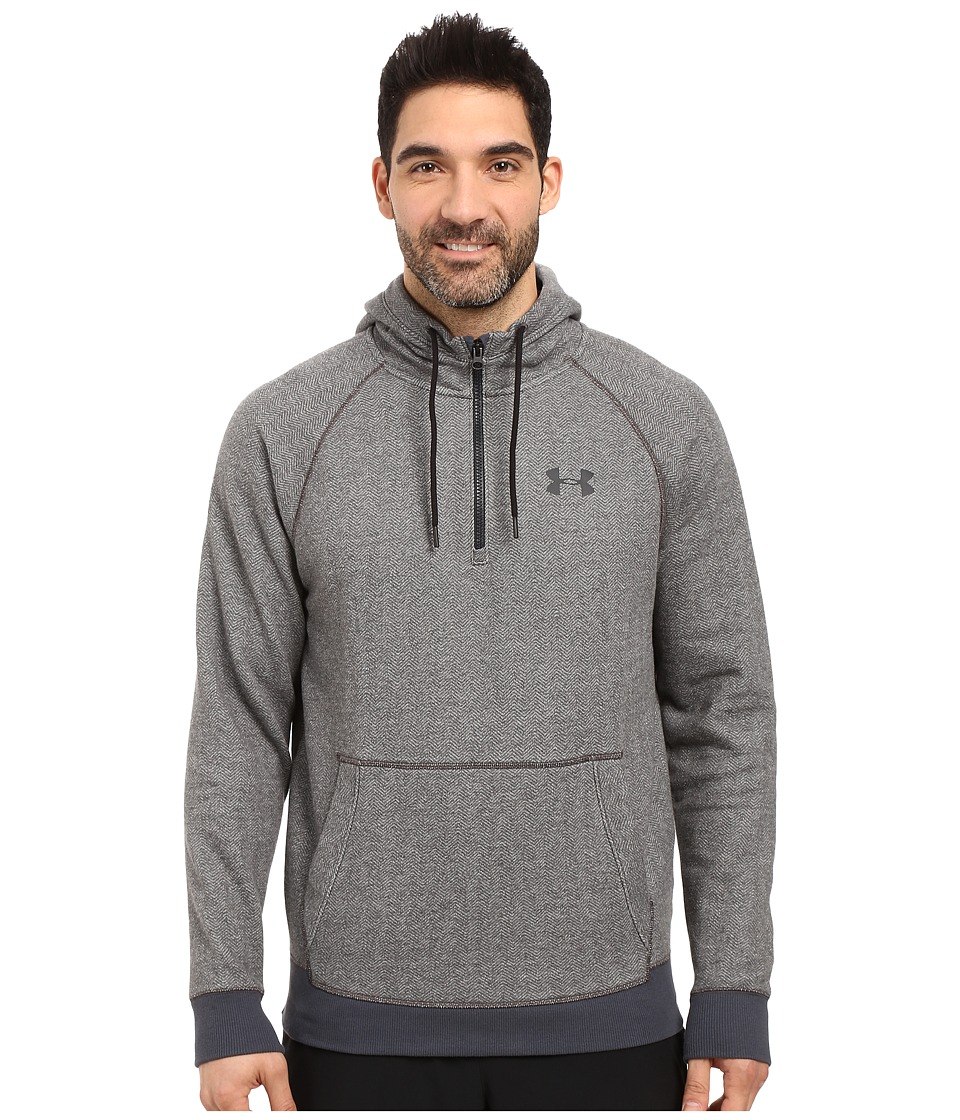 Under Armour - UA Rival Fleece 1/2 Zip Hoodie (Asphalt Heather/Black/Black) Men's Sweatshirt