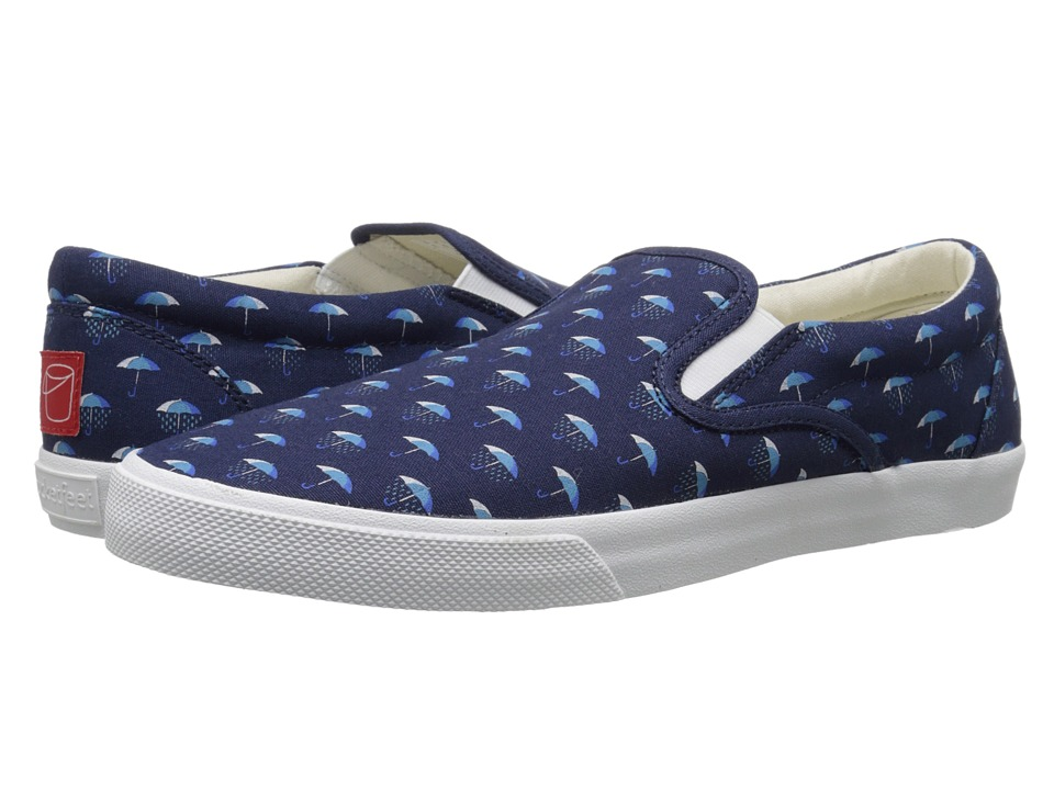 BucketFeet - Umbrellas (Navy) Men's Slip on Shoes