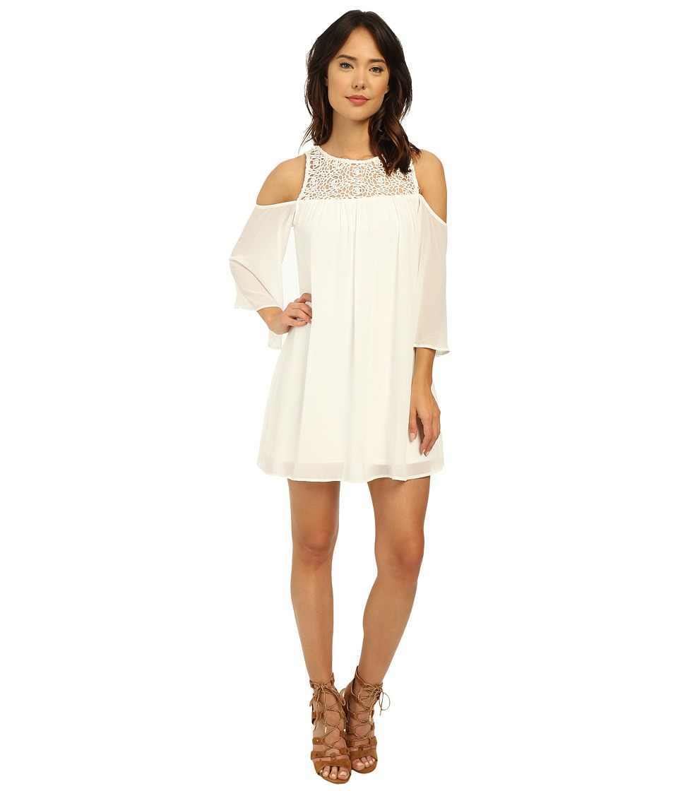 Brigitte Bailey - Crochet Cold Shoulder Dress (White) Women's Dress