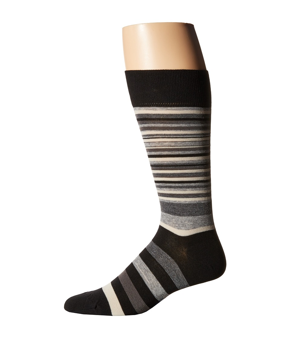 Cole Haan - Town Stripe Crew (Black/Stormcloud) Men's Crew Cut Socks Shoes