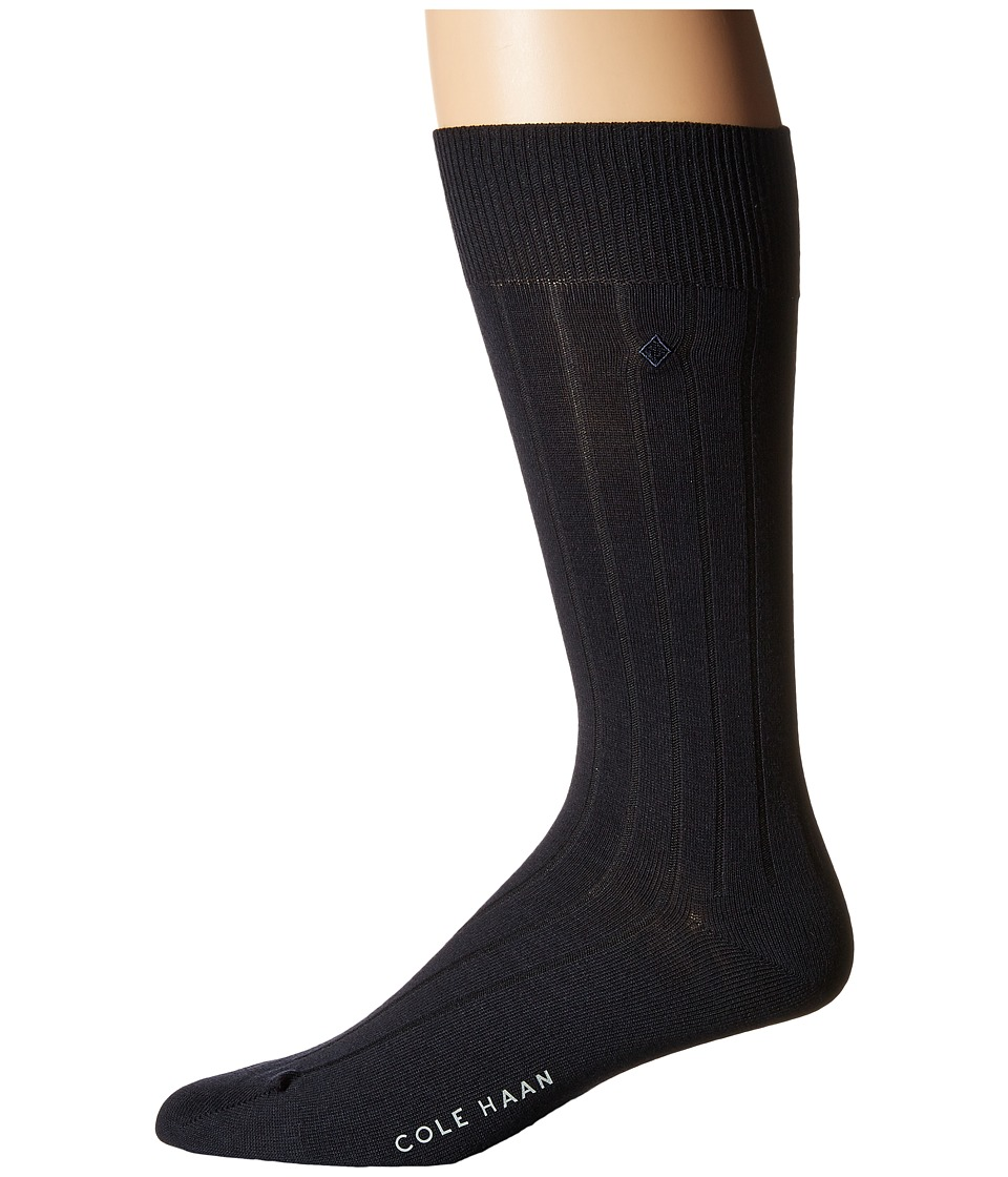 Cole Haan - 10x1 Ribbed Crew (Navy) Men's Crew Cut Socks Shoes