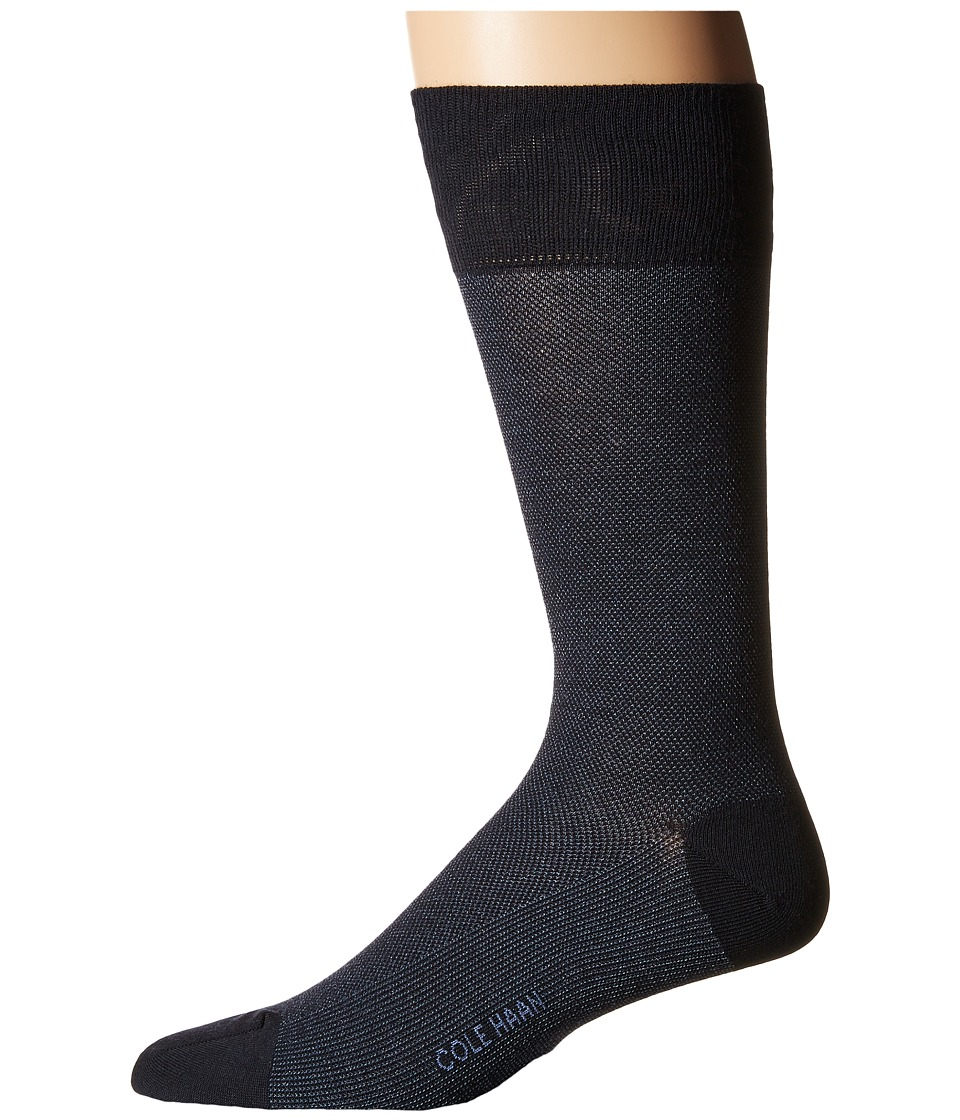 Cole Haan - Pique Textured Crew (Navy) Men's Crew Cut Socks Shoes