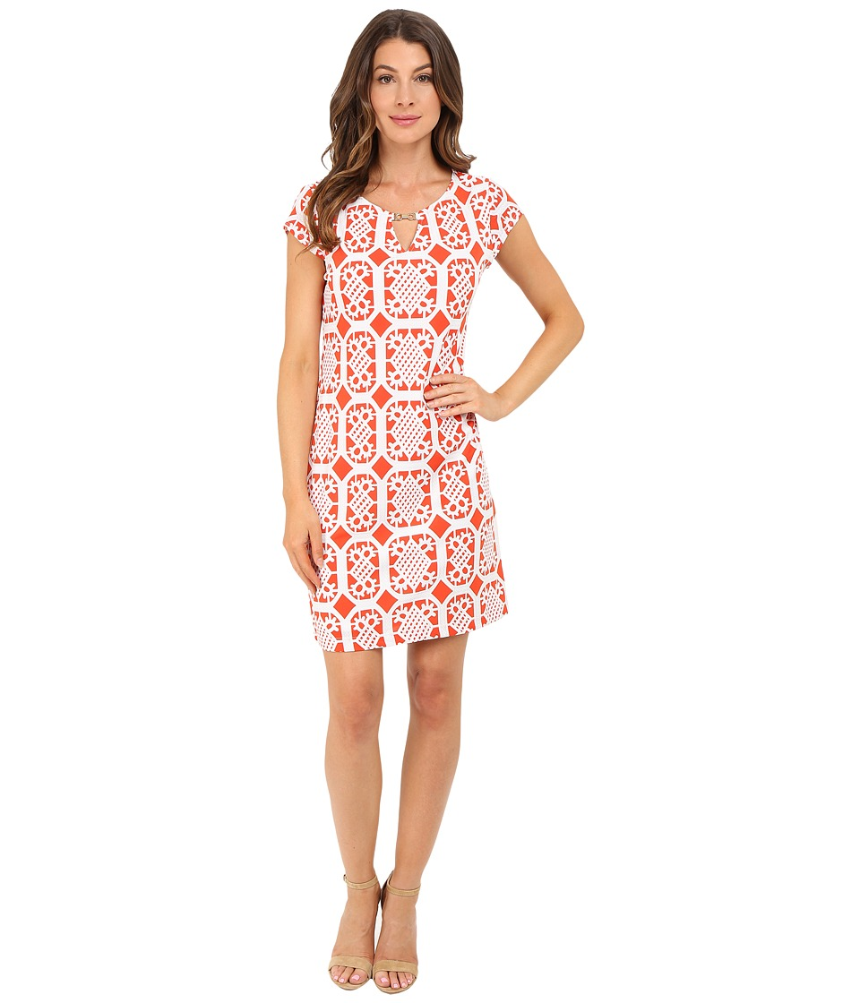 Christin Michaels - Anton Dress (Orange/White) Women's Dress