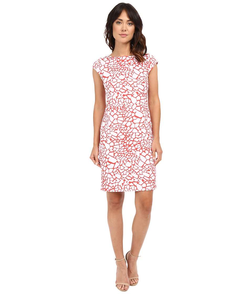 Christin Michaels - Anneka Dress (Coral/White) Women's Dress