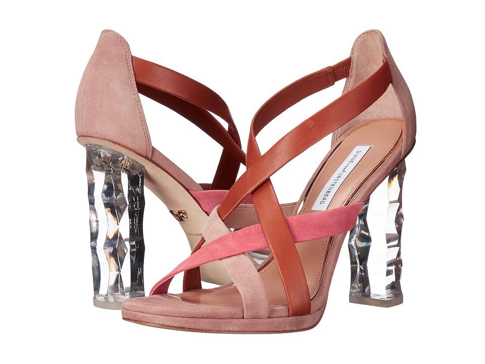 Diane von Furstenberg - Ibiza (Coral Kid Suede/Tan Calf) Women's Shoes