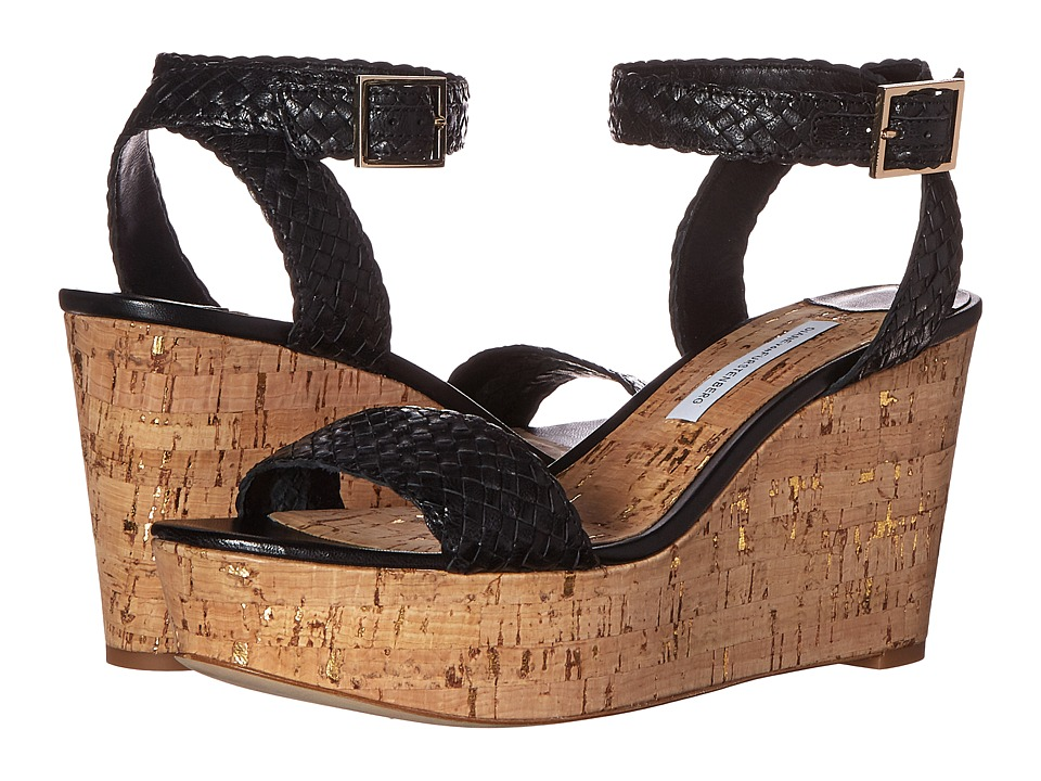 Diane von Furstenberg - Montclair (Black Mesh Goat/Cork) Women's Shoes
