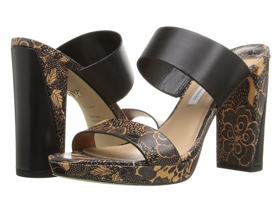 Diane von Furstenberg - Bruges (Black/Tan Flower Power Print) Women's Shoes