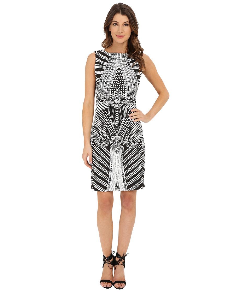 Christin Michaels - Bordeaux Knit Dress (White/Black) Women's Dress