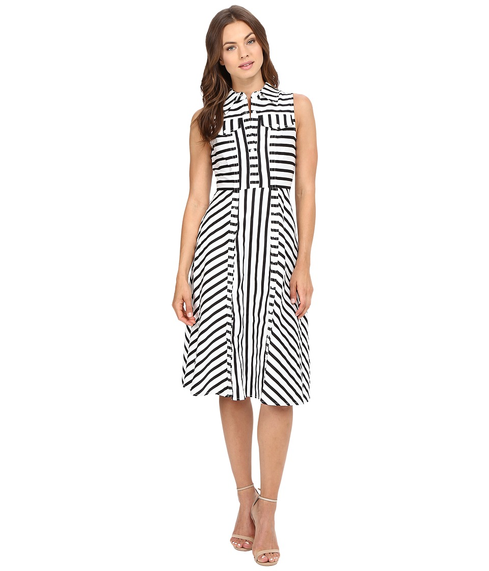 Christin Michaels - Nord Pinstripe Shirtdress (Ivory/Black) Women's Dress