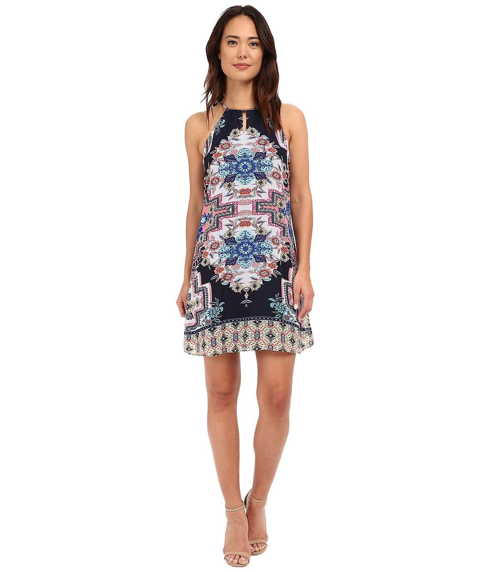 Christin Michaels - Printed Sanremo Dress (Navy/Coral) Women's Dress
