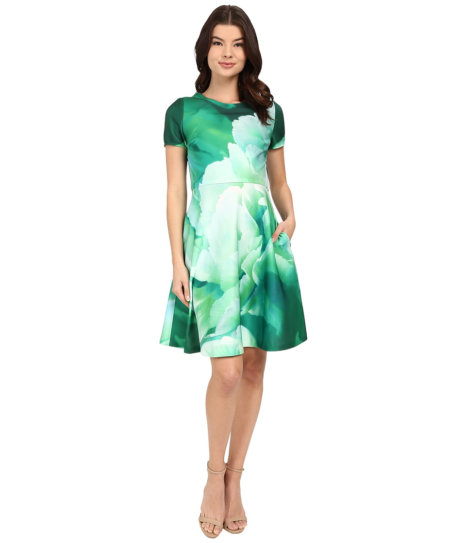 Christin Michaels - Lille Floral Scuba Dress (Green Multi) Women's Dress