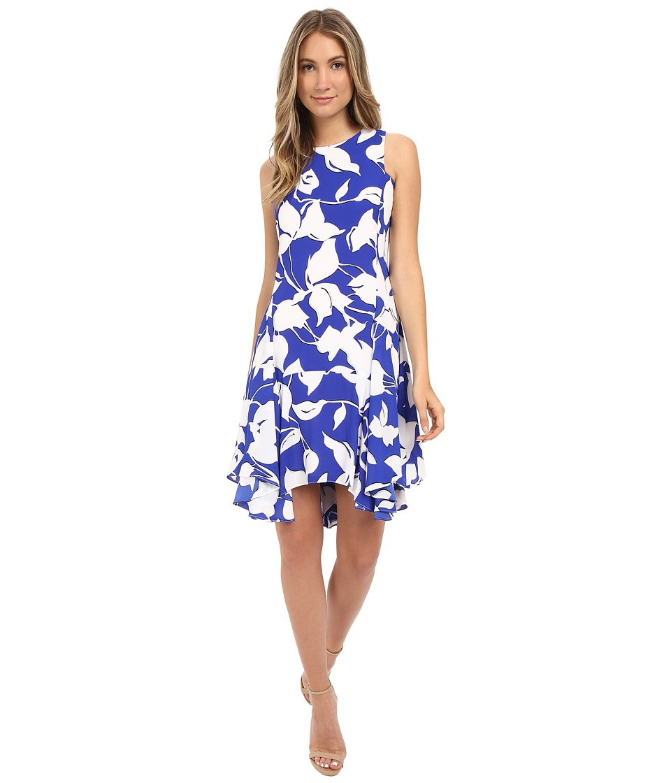 Christin Michaels - Is re Georgette Dress (Cobalt/Ivory) Women's Dress