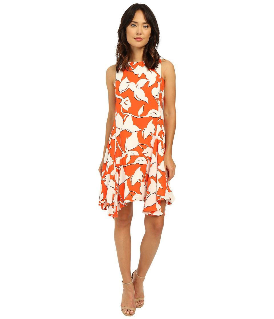 Christin Michaels - Is re Georgette Dress (Orange/Ivory) Women's Dress