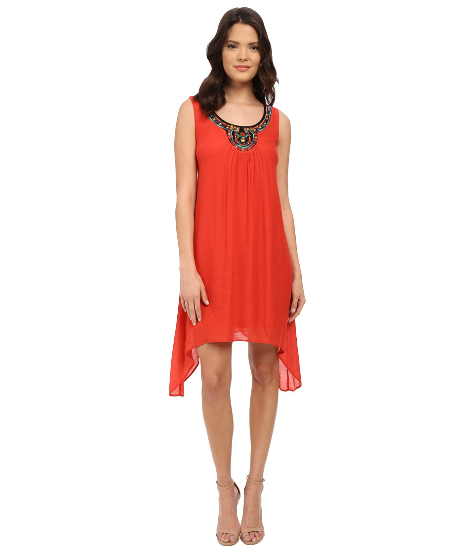 Christin Michaels - Vittoria Embelished Dress (Brick) Women's Dress