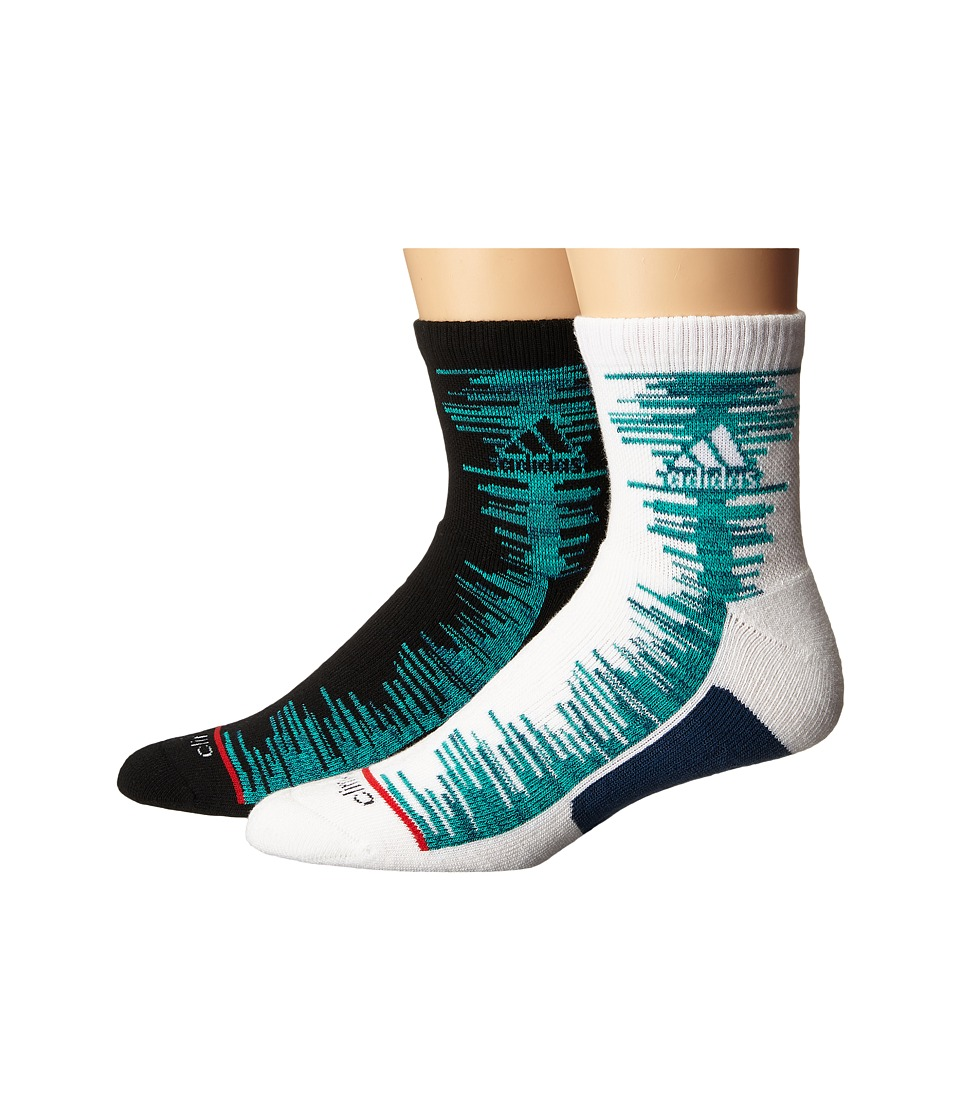 adidas - Frequency 2-Pack Quarter (White/Shock Mint/Tech Steel Blue Space Dye/Tech Steel Grey/Ray R) Men's Quarter Length Socks Shoes
