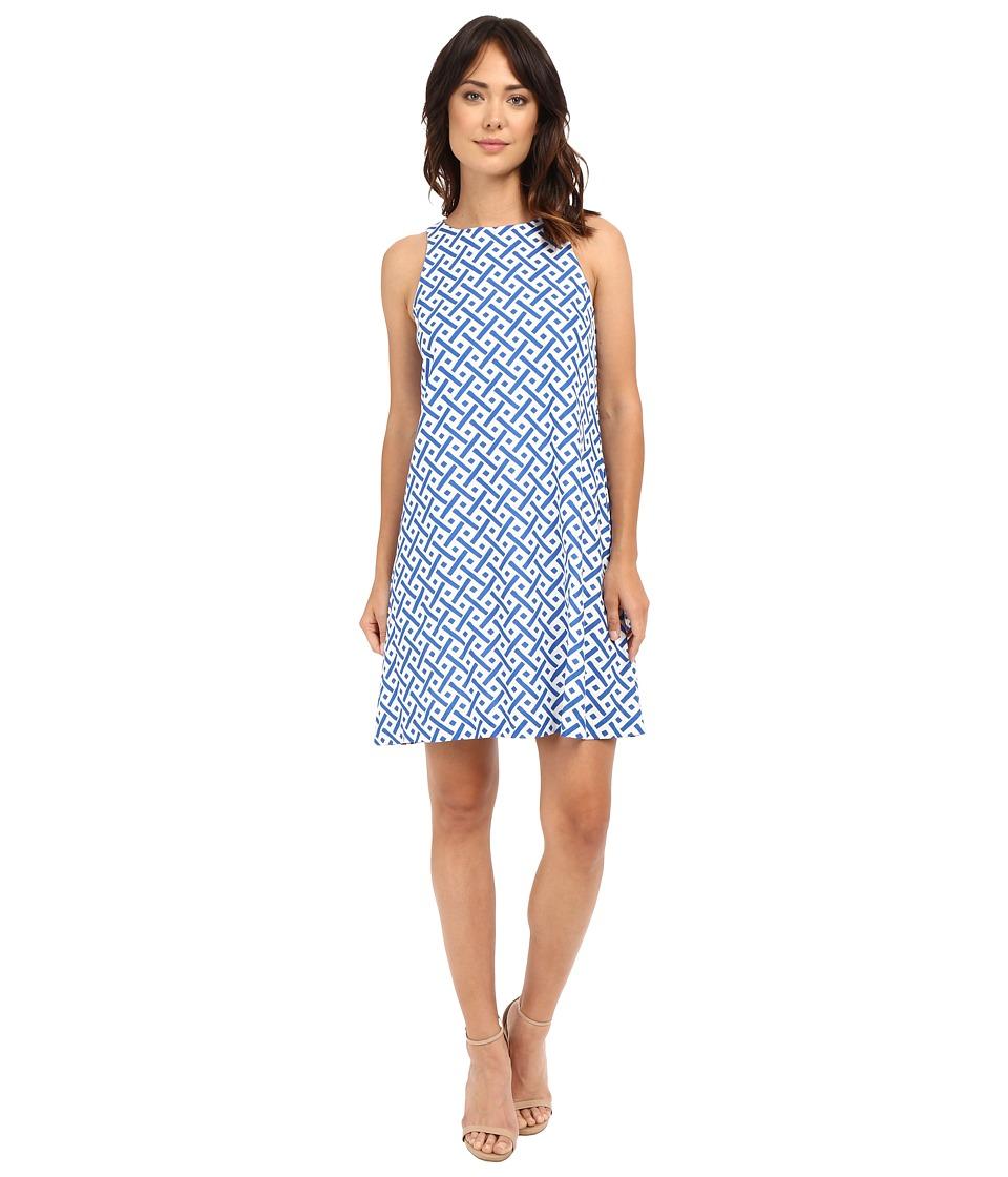 Christin Michaels - Shay Linen Dress (Blue/Ivory) Women's Dress