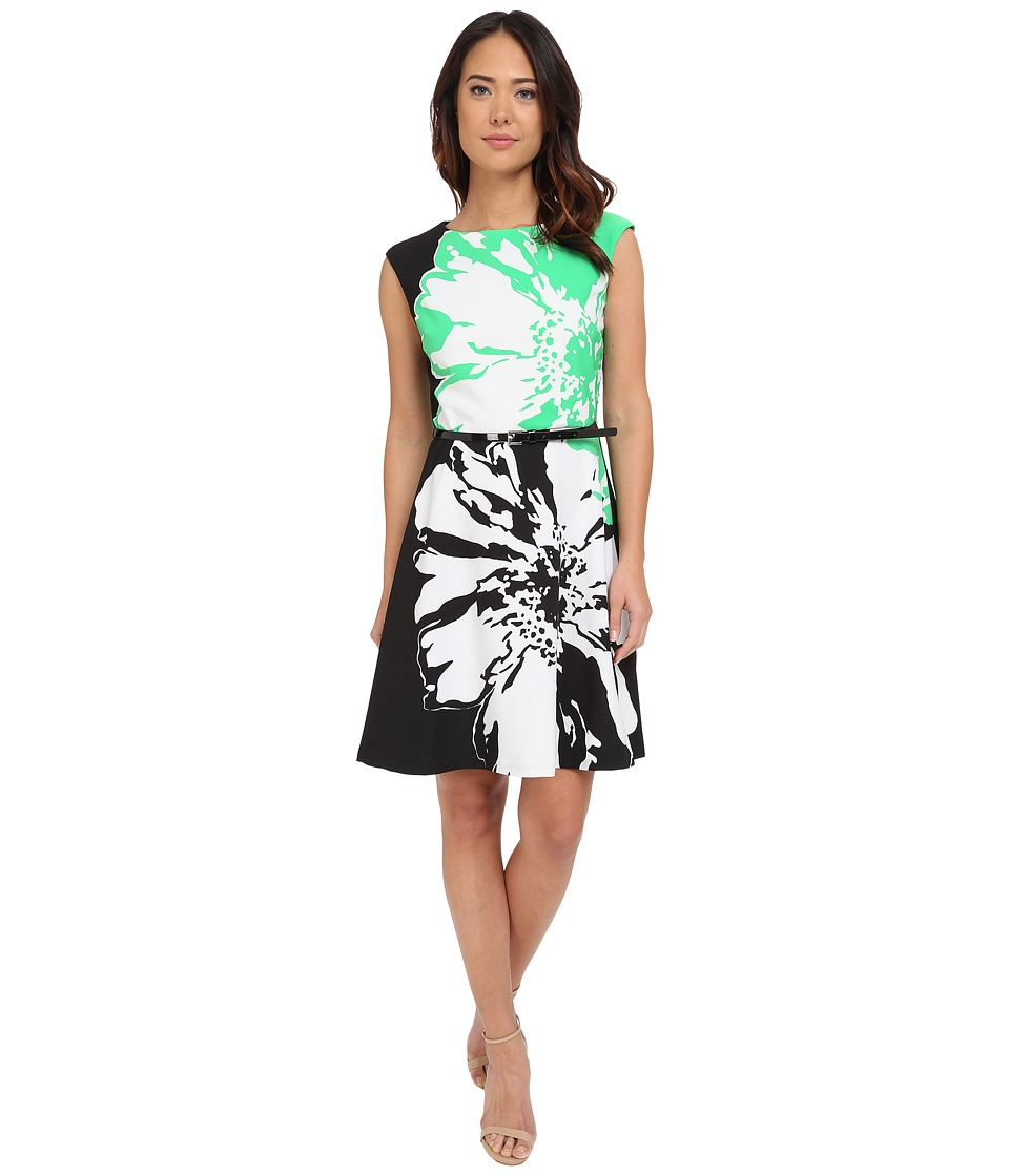 Christin Michaels - Millfiori Flower Dress (Green/Black) Women's Dress