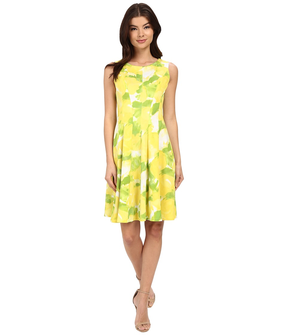 Christin Michaels - Province Floral Dress (Lemon/Lime) Women's Dress