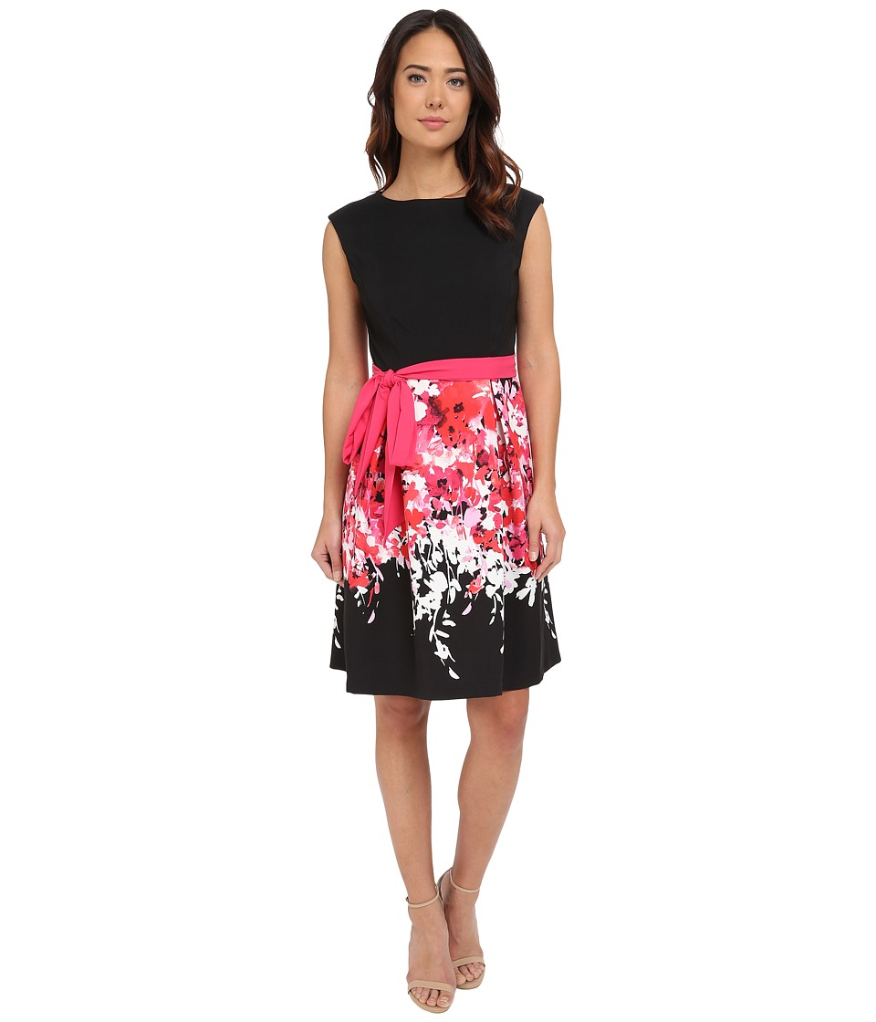 Christin Michaels - Veneto Cap Sleeve Dress (Black/Pink) Women's Dress