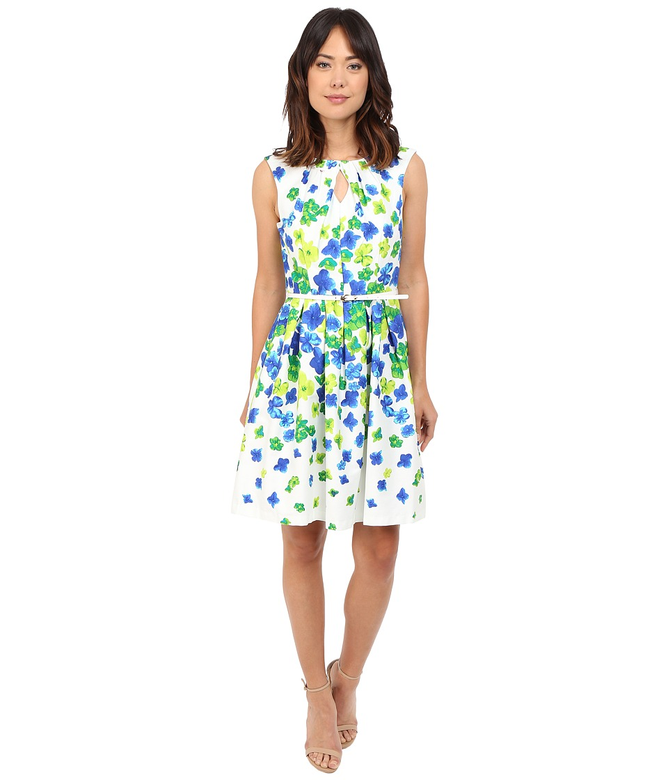 Christin Michaels - Napoli Floral Dress (Ivory/Blue/Green) Women's Dress