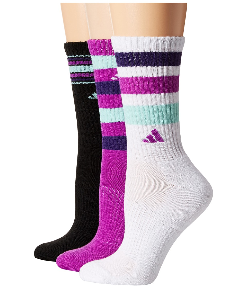 adidas - Retro II 3-Pack Crew (White/Black/Shock Purple/Unity Purple/Ice Green) Women's Crew Cut Socks Shoes