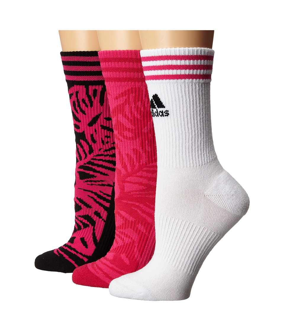 adidas - adiPalm 3-Pack Crew (Black/Shock Pink/White/Bold Pink) Women's Crew Cut Socks Shoes