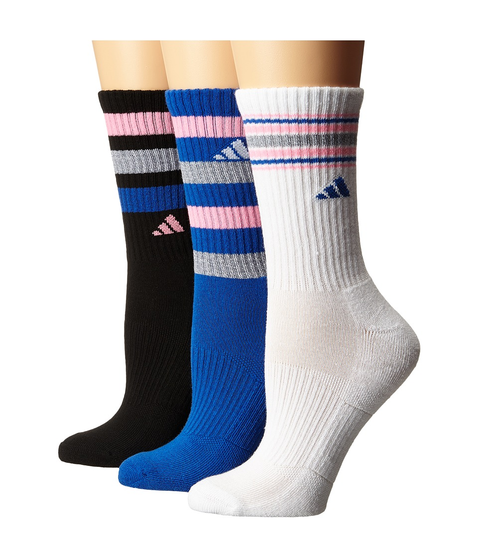adidas - Retro II 3-Pack Crew (Black/Heather Grey/Blue/Pink Glow/White) Women's Crew Cut Socks Shoes