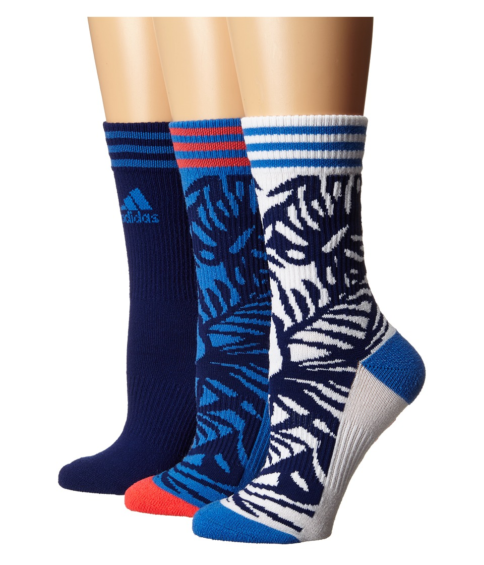 adidas - adiPalm 3-Pack Crew (Ray Blue/Unity Ink Purple/White/Shock Red) Women's Crew Cut Socks Shoes