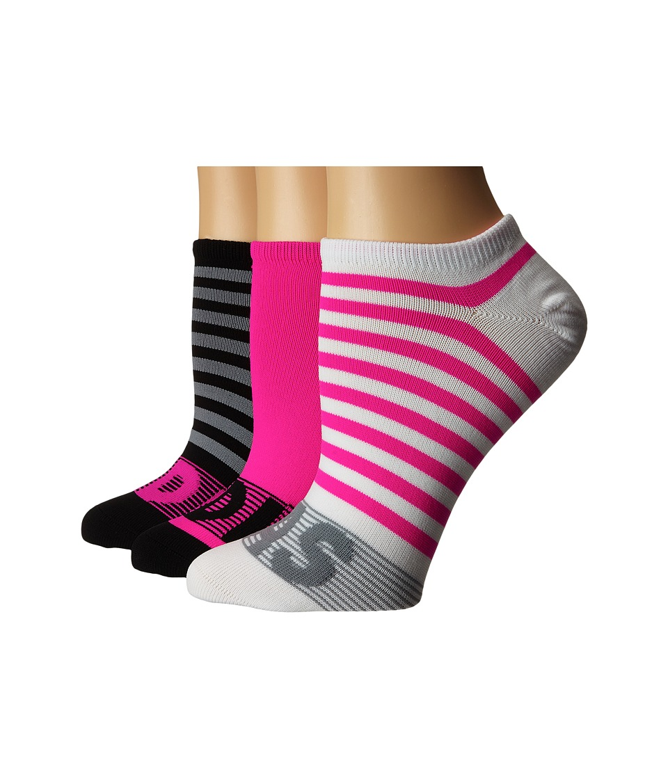 adidas - adiStripe 3-Pack No Show (White/Shock Pink/Grey/Black) Women's No Show Socks Shoes