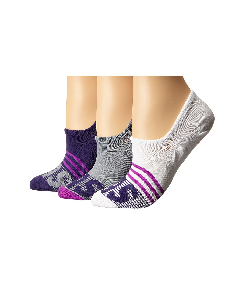 adidas - adiStripe 3-Pack Super No Show (Unity Purple/Shock Purple/Grey/Clear Onix Marl/White) Women's No Show Socks Shoes