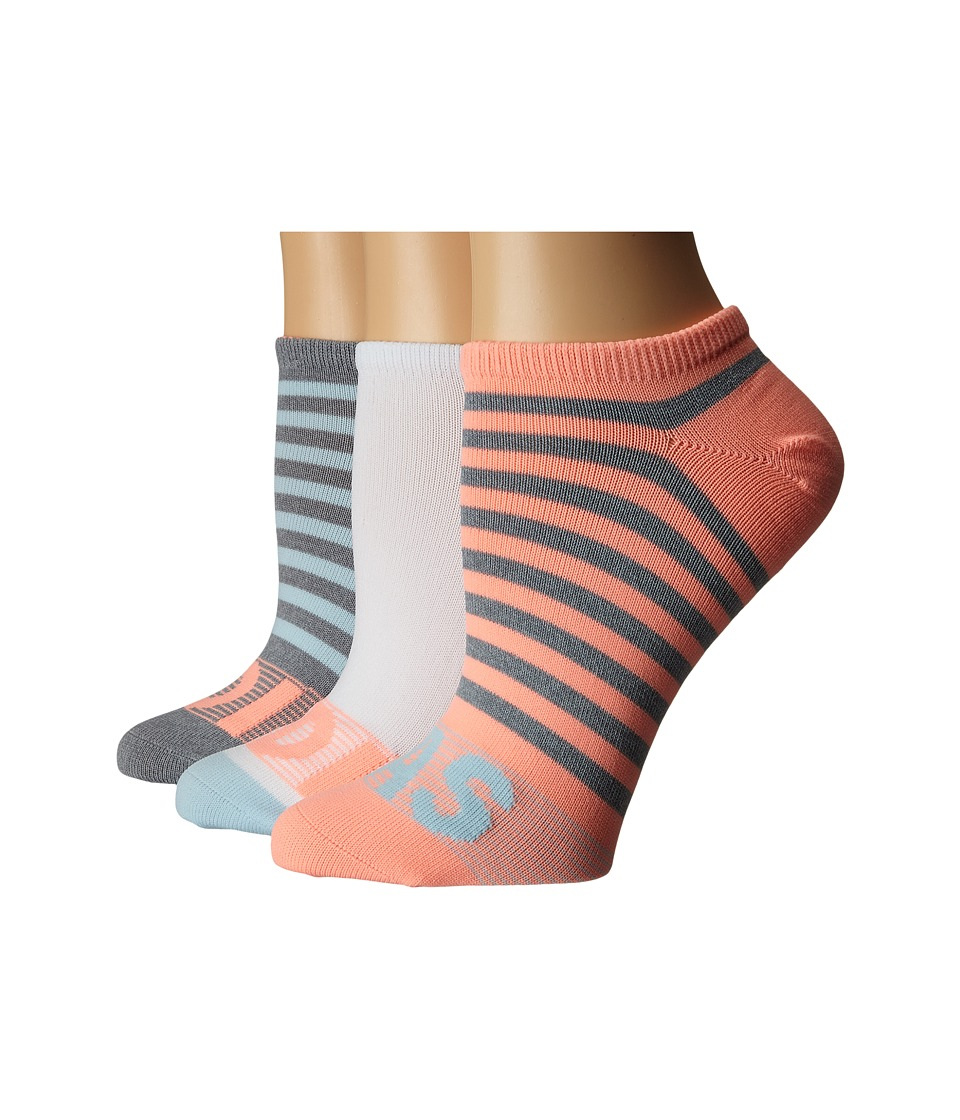 adidas - adiStripe 3-Pack No Show (Grey/Clear Onix Marl/Ice Blue/Sun Glow/White) Women's No Show Socks Shoes