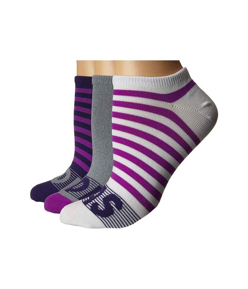 adidas - adiStripe 3-Pack No Show (Unity Purple/Shock Purple/Grey/Clear Onix Marl/White) Women's No Show Socks Shoes