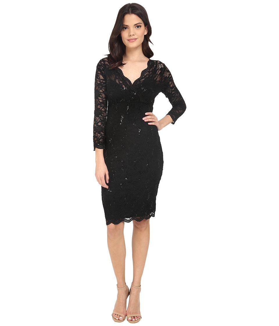 rsvp - Portici Floral Lace Dress w/ Sequins (Black) Women's Dress