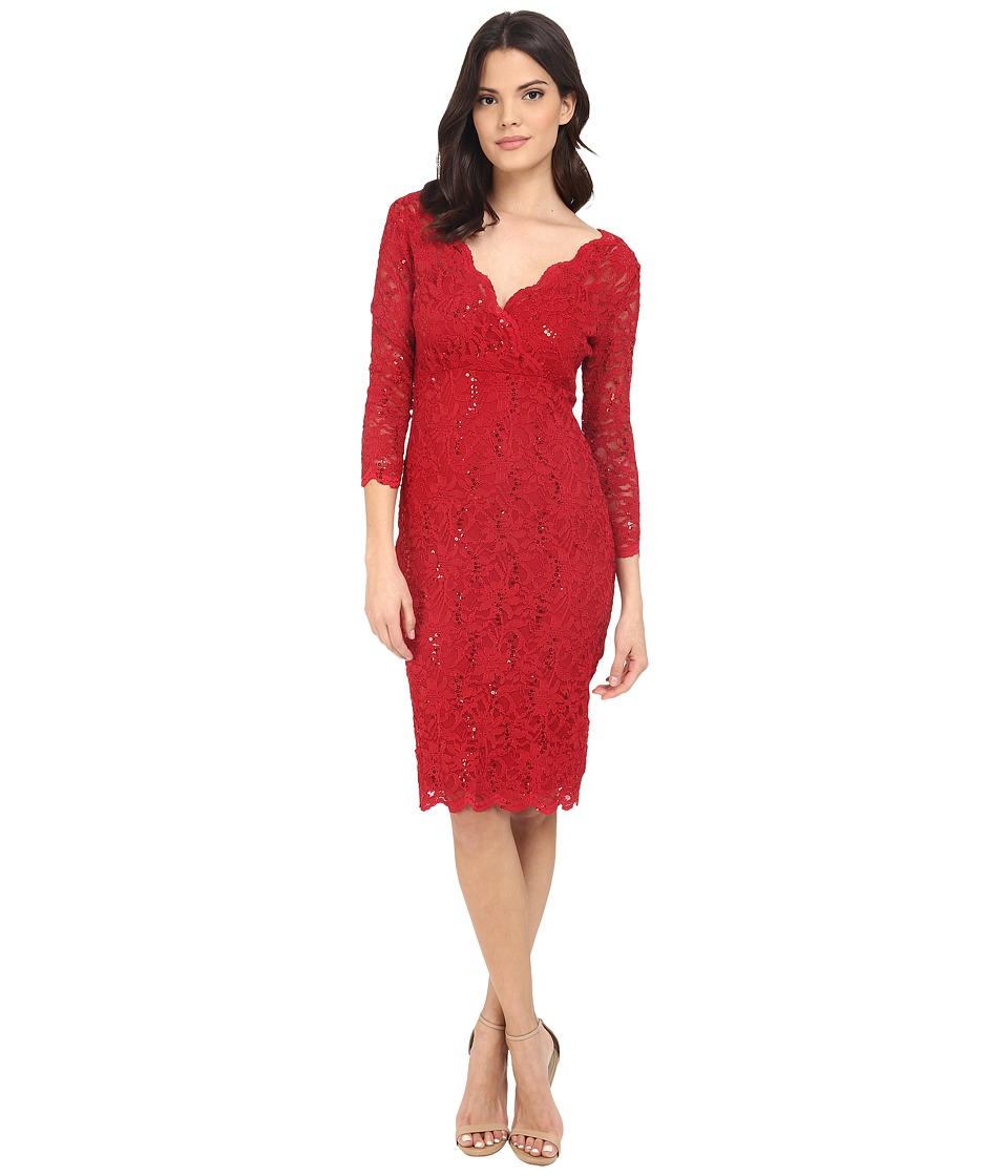 rsvp - Portici Floral Lace Dress w/ Sequins (Red) Women's Dress