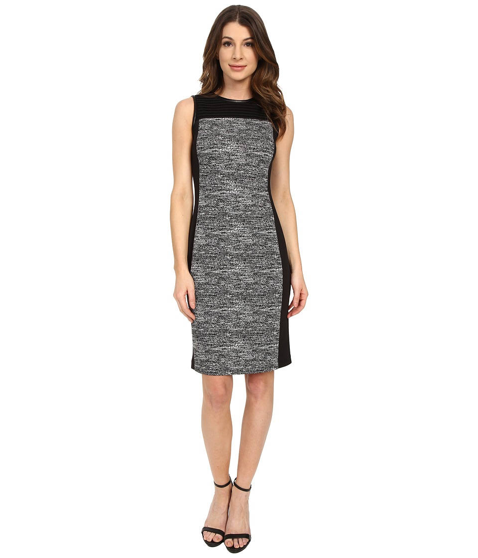 Calvin Klein - Blocked Jaquard Mesh Sheath (Black/White) Women's Dress