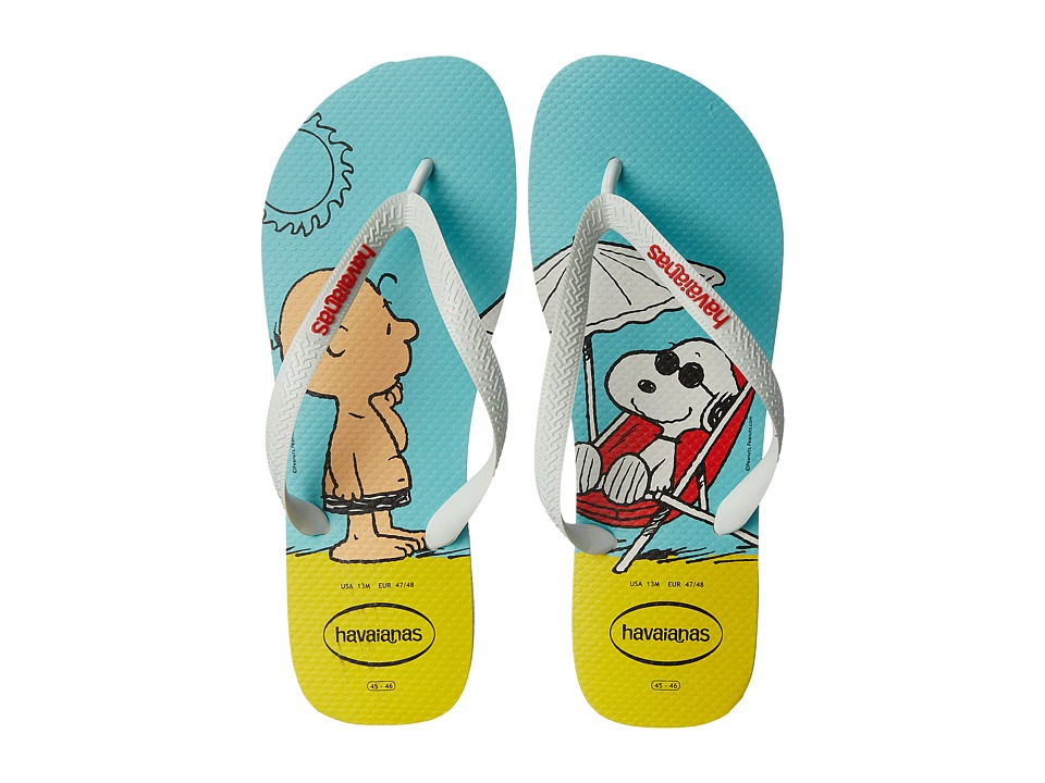 Havaianas - Snoopy Flip Flops (White/White) Men's Sandals