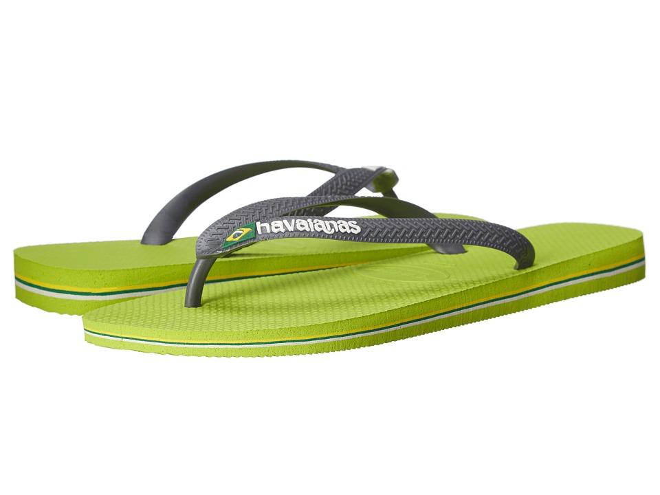 Havaianas - Brazil Logo Flip Flops (Lemon Green/Grey) Men