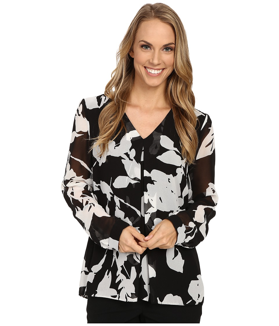 Calvin Klein - Long Sleeve Print Invert Pleat Blouse (Black/White) Women's Blouse