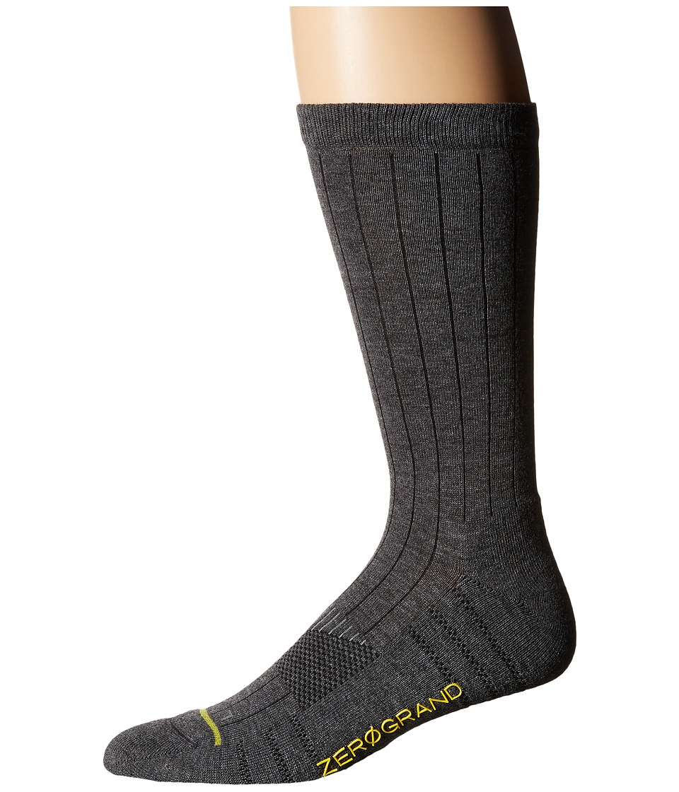 Cole Haan - ZeroGrand Rib Crew (Charcoal Heather) Men's Crew Cut Socks Shoes