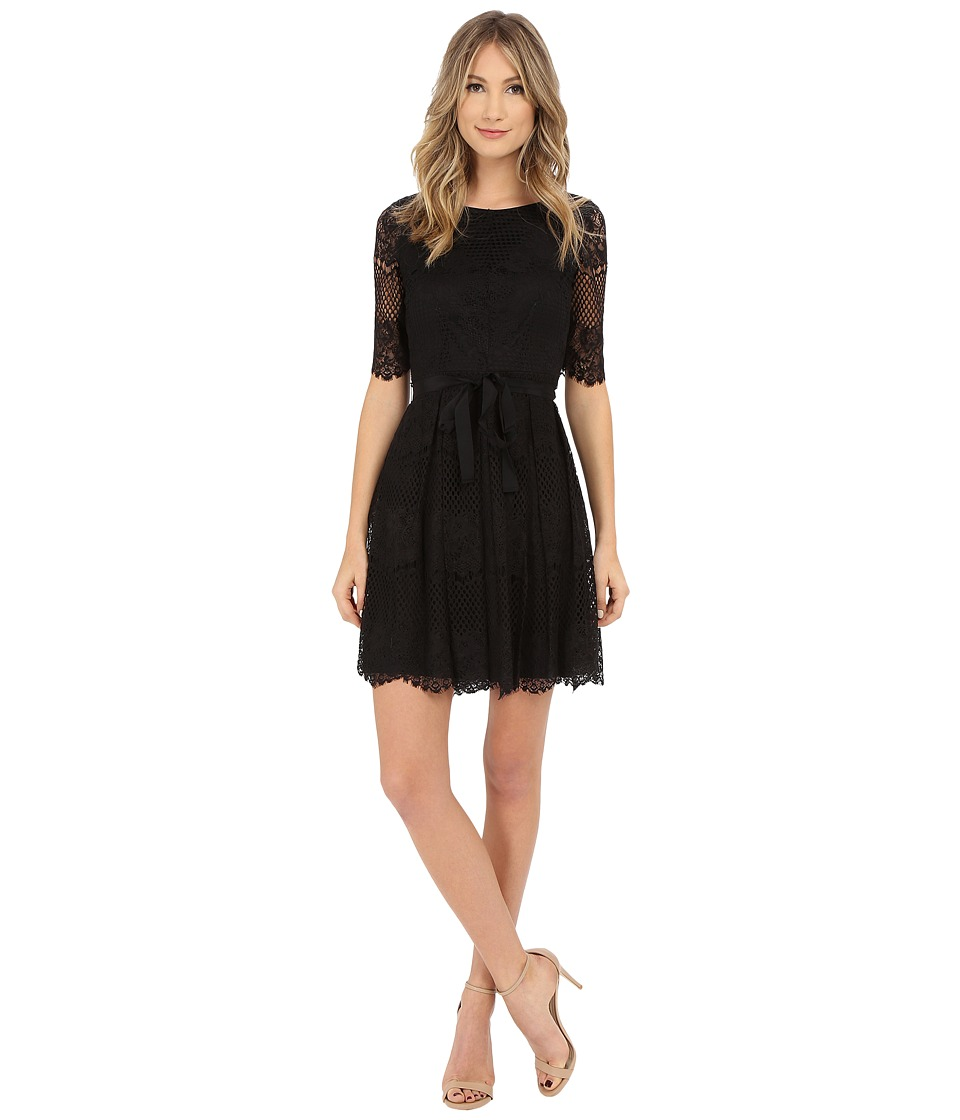 Jessica Simpson - 3/4 Novelity Lace Dress with Self Sash (Black) Women's Dress