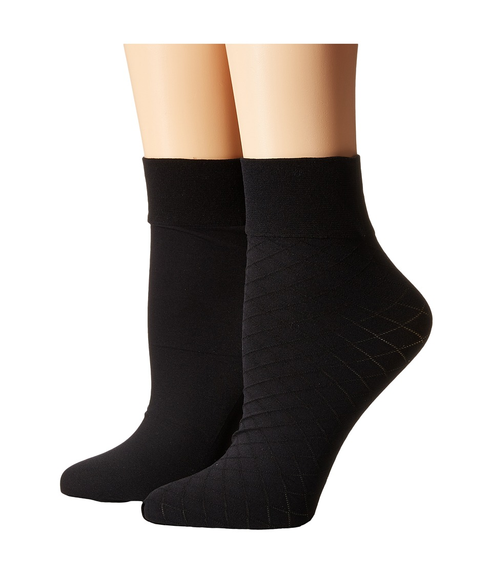 Cole Haan - 2-Pack Textured Anklet (Black) Women's Crew Cut Socks Shoes