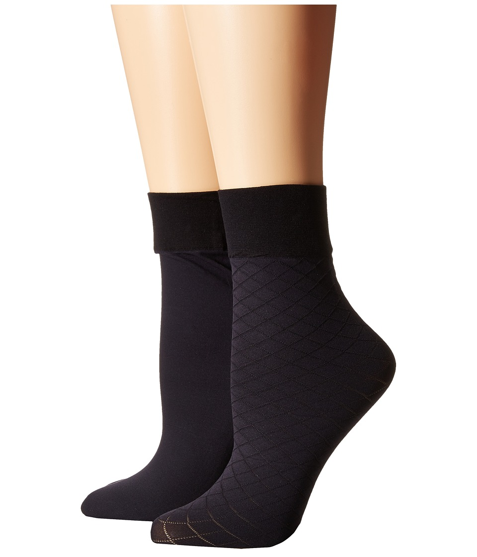 Cole Haan - 2-Pack Textured Anklet (Navy) Women's Crew Cut Socks Shoes